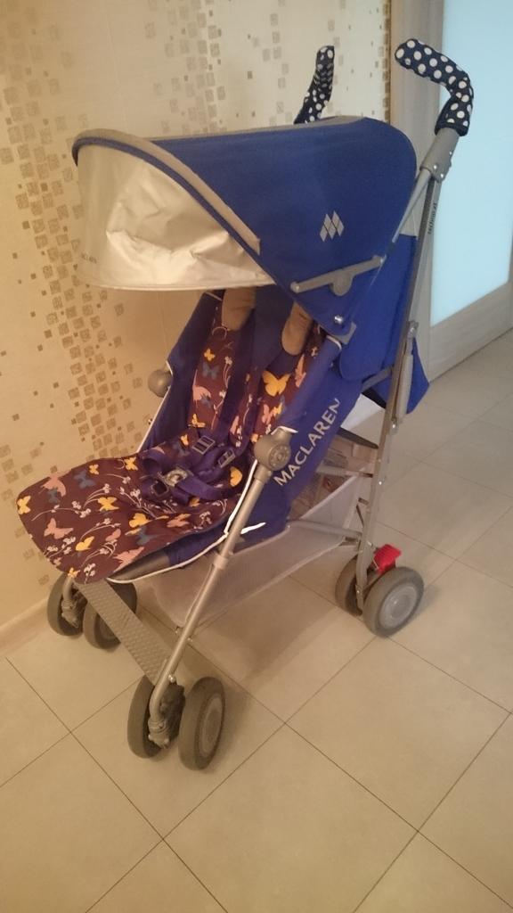 Продается коляска трость макларен (maclaren), коричнево-синяя, состояние хорошее, механизмы исправные