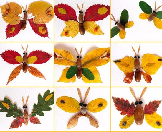 Бабочка из сухих листьев фото