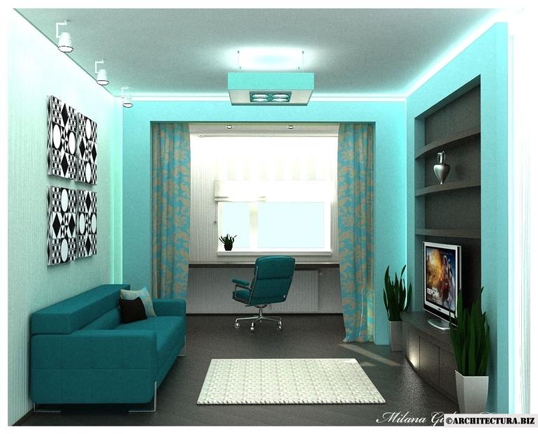 Дизайн интерьера комнаты с одним окном
