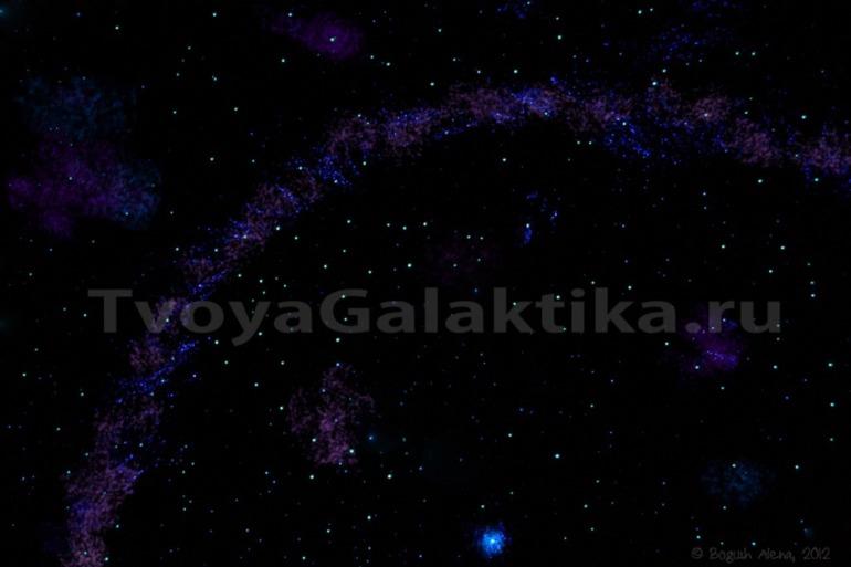 Потолок Звездное небо. Рисунок 3D светонакапливающими красками.