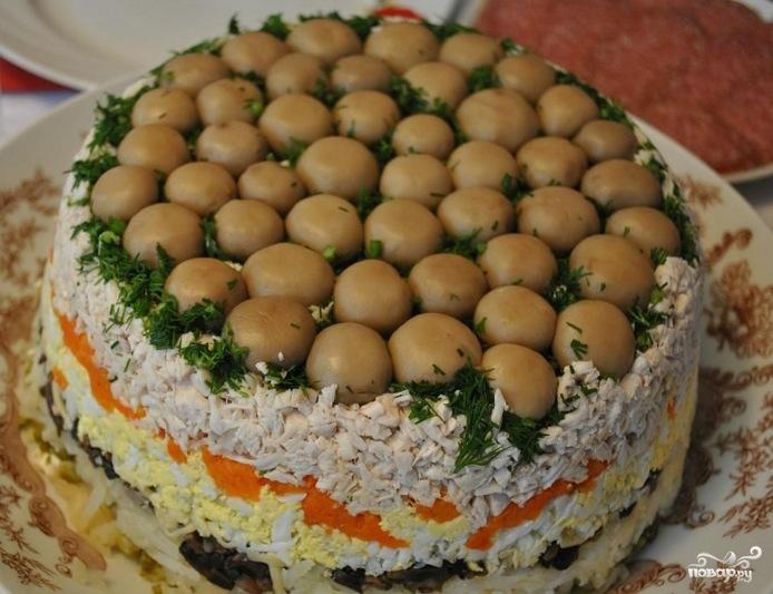 Салат лесная поляна пошаговый рецепт с