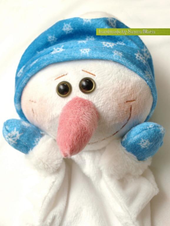 МК рукавичка для кукольного театра- Снеговик!!!