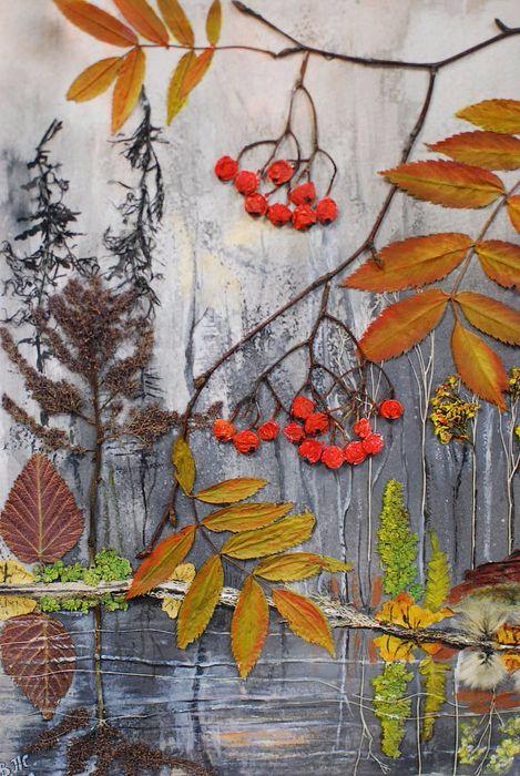 Панно из засушенных листьев своими руками