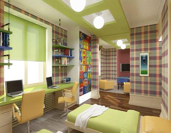 Зонирование детской комнаты для двоих мальчиков дизайн