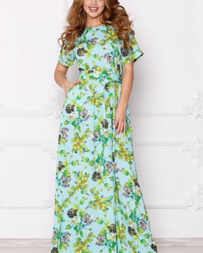 Платье Камилла в пол цветы на бирюзе (П-162-3)