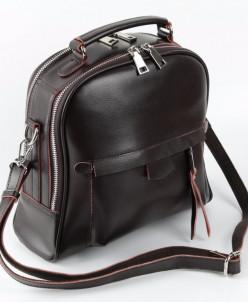 Сумка-рюкзак женская кожаная 1712 Коричневый