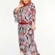 Платье вечернее из шифона принт черно-красный, пояс и горлов