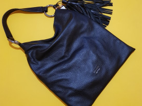 Новая большая кожаная сумка Италия с кисточкой
