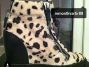 Сникерс ботинки новые Giuseppe Zanotti Италия размер 39 верх мех под леопард на танкетке полусапожки полусапоги сапоги сапожки внутри кожа