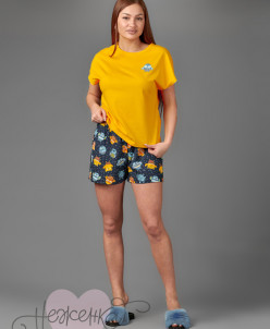 Женская пижама ЖП 022 (желтый+принт совята)