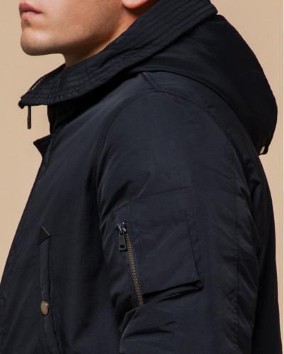 Черно-синяя парка модного фасона зимняя модель 90520