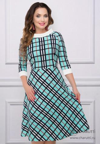 Платье Мерси (мятная клетка)