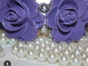 Браслет новый сиреневый фиолетовый с розами на резинке Gala фирма бижутерия украшения аксессуары