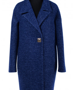 01-6548 Пальто женское демисезонное Вареная шерсть Синий мел