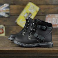 Теплые детские ботиночки из натуральной кожи черного цвета