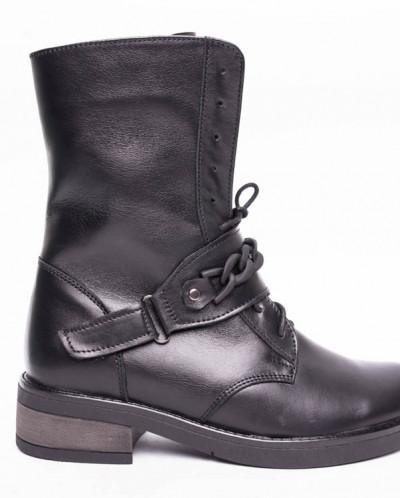 Ботинки №413-1 черная кожа (брук)