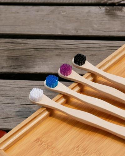 Зубная щетка бамбуковая с круглой щетиной ROUND