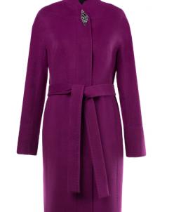 01-7293 Пальто женское демисезонное (пояс) Кашемир Малина
