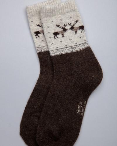 Носки из шерсти 100% шоколадные с оленями, Монголия