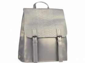 Новый кожаный рюкзак серебро