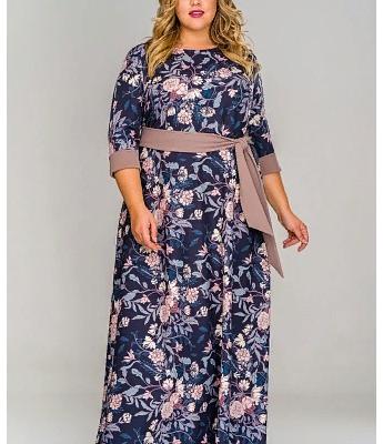 Платье длинное из крепа, принт цветы