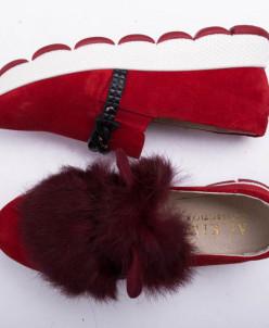 Купить красные слипоны №340-1654-7 красный замш + УШКИ