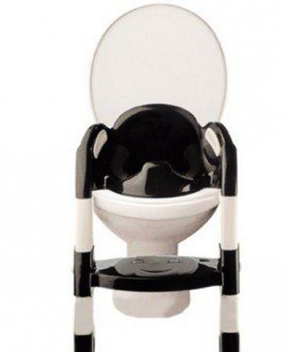 детское сидение на унитаз со ступенькой черно-белое
