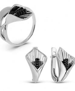 Гарнитур из серебра с фианитами родированный