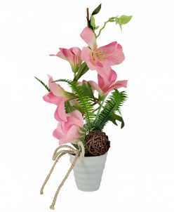 Декор.цветы Вьюнок розовый в керам.вазе