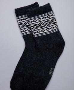 Носки из шерсти черный с узором, Монголия
