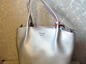 Новая кожаная сумка Gaude Италия Серебро