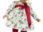 Кукла Эбрил, в платье с красным поясом, 60 см