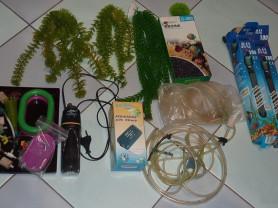 Аквариумный компрессор, фильтр, декор.растения