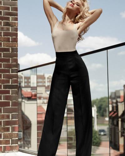 Высокие брюки-палаццо