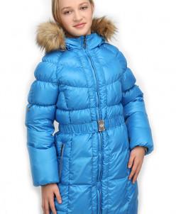 Пуховое пальто с опушкой из искусственного меха   Talvi