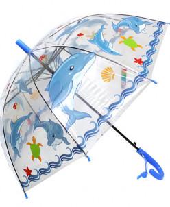 """Зонт трость полуавомат """"Прозрачный"""""""