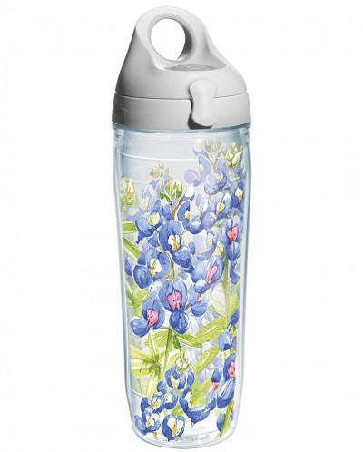 Tervis Blue Bonnet on it Wrap Water Bottle with Grey Lid, 24