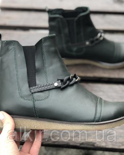 Ботинки № 409-17 зеленая кожа + цепь