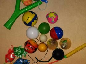 Рыбалка, рогатка, мячики.