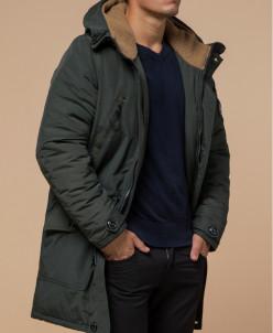 Парка зимняя цвета хаки с капюшоном модель 96120