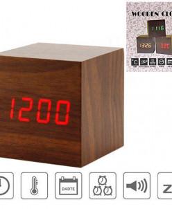 Часы-будильник Кубик под дерево