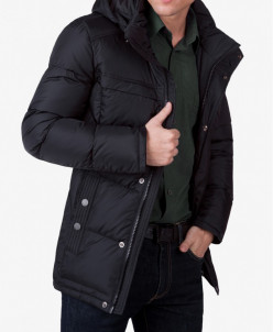 Куртка модная теплая черного цвета модель 4245