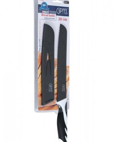 6787 GIPFEL Нож хлебный Rainbow 20 см в пластиковом чехле, с