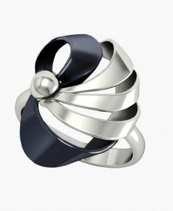 Кольцо Лейсан серебро с серой нанокерамикой Юмила