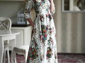 Жаккардовое платье с карманами