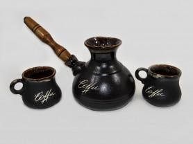 Керамическая турка с двумя чашками