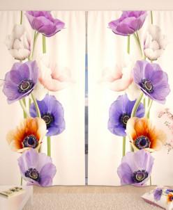 Фотошторы Разноцветные цветочки Габардин