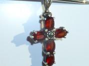 подвеска крестик серебро 925* с гранатами