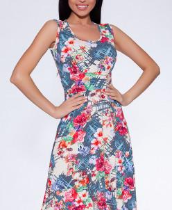 13781 Платье Серо-синий/красный