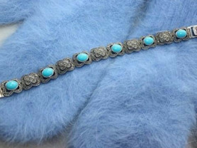 Браслет новый капельное серебро и камни бирюза голубые женский украшения аксессуары ювелирные изделия